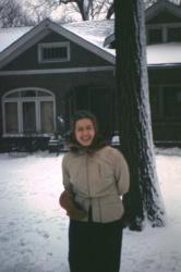 Jeane in front of Gross Family home at 12 Foster Drive - Des Moines, Iowa